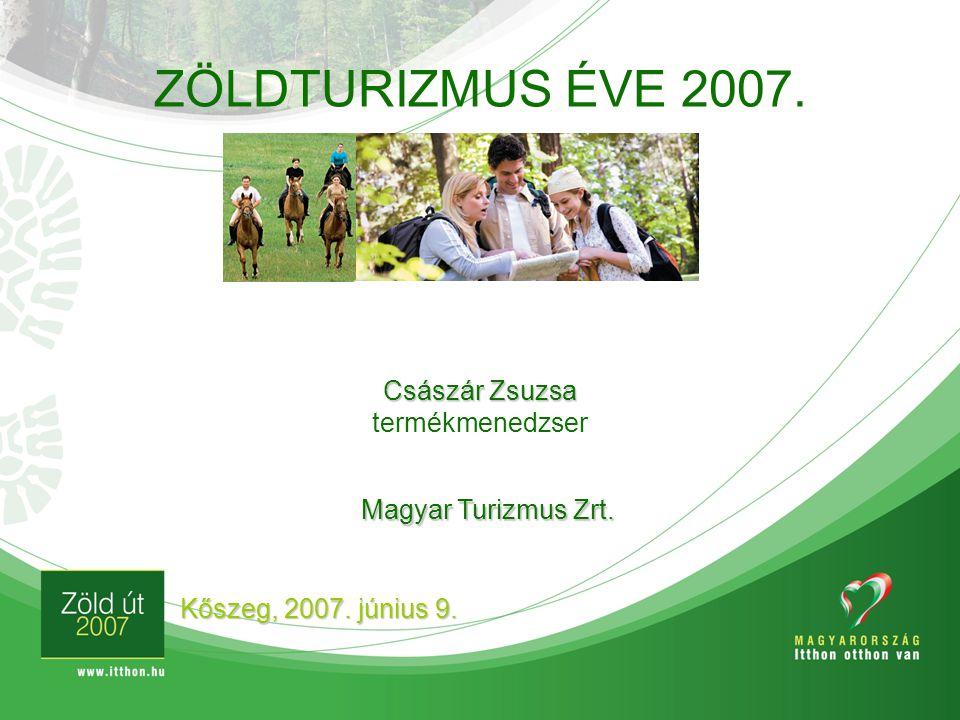 ZÖLDTURIZMUS ÉVE 2007. Kőszeg, 2007. június 9. Császár Zsuzsa termékmenedzser Magyar Turizmus Zrt.