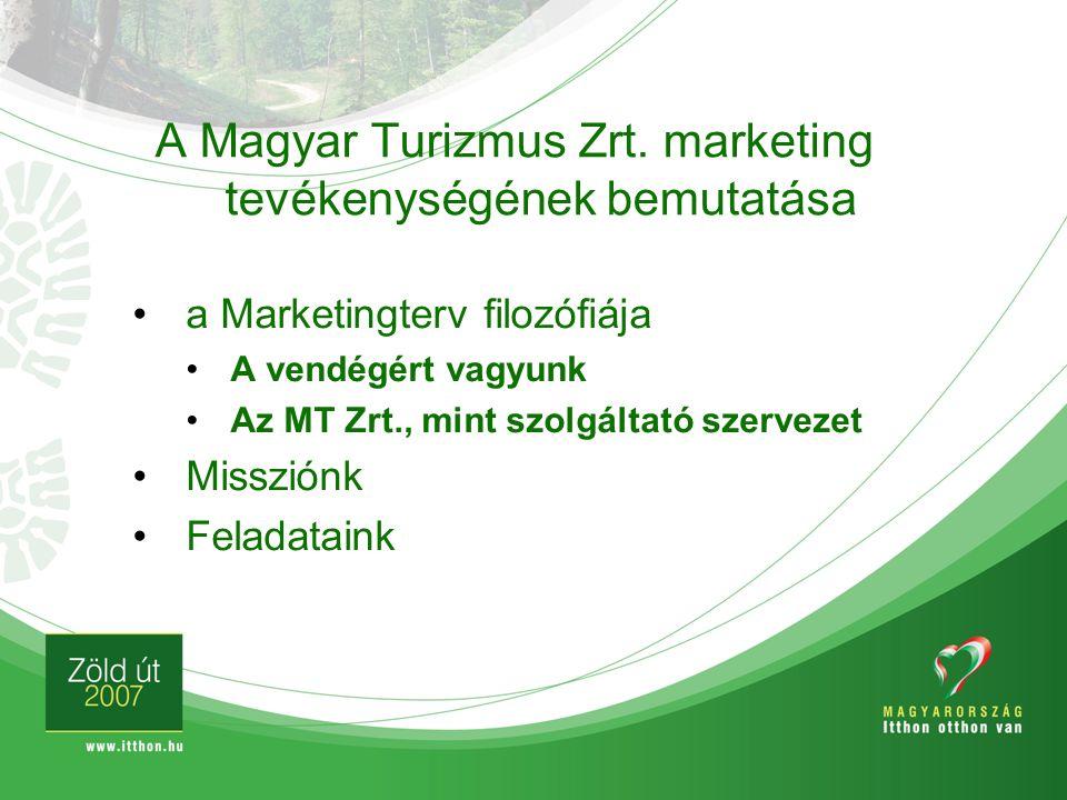 a Marketingterv filozófiája A vendégért vagyunk Az MT Zrt., mint szolgáltató szervezet Missziónk Feladataink A Magyar Turizmus Zrt. marketing tevékeny