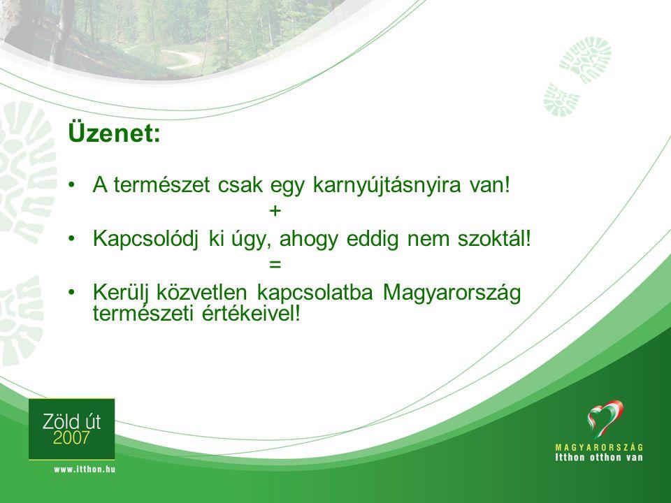 Üzenet: A természet csak egy karnyújtásnyira van! + Kapcsolódj ki úgy, ahogy eddig nem szoktál! = Kerülj közvetlen kapcsolatba Magyarország természeti