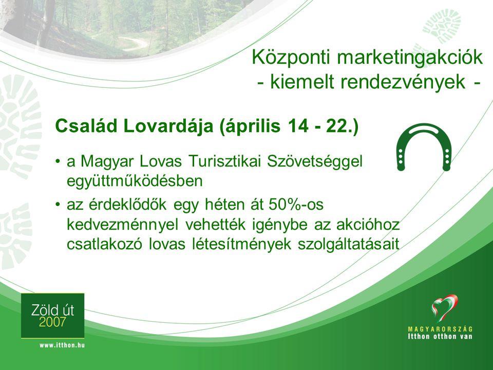 Család Lovardája (április 14 - 22.) a Magyar Lovas Turisztikai Szövetséggel együttműködésben az érdeklődők egy héten át 50%-os kedvezménnyel vehették