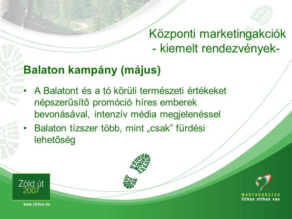 Balaton kampány (május) A Balatont és a tó körüli természeti értékeket népszerűsítő promóció híres emberek bevonásával, intenzív média megjelenéssel B
