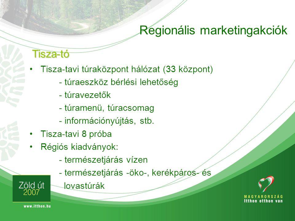 Regionális marketingakciók Tisza-tavi túraközpont hálózat (33 központ) - túraeszköz bérlési lehetőség - túravezetők - túramenü, túracsomag - informáci