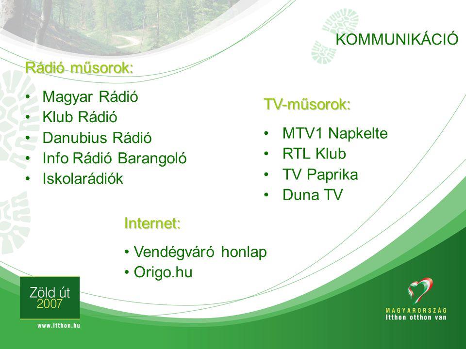 Rádió műsorok: Magyar Rádió Klub Rádió Danubius Rádió Info Rádió Barangoló Iskolarádiók TV-műsorok: MTV1 Napkelte RTL Klub TV Paprika Duna TV KOMMUNIK