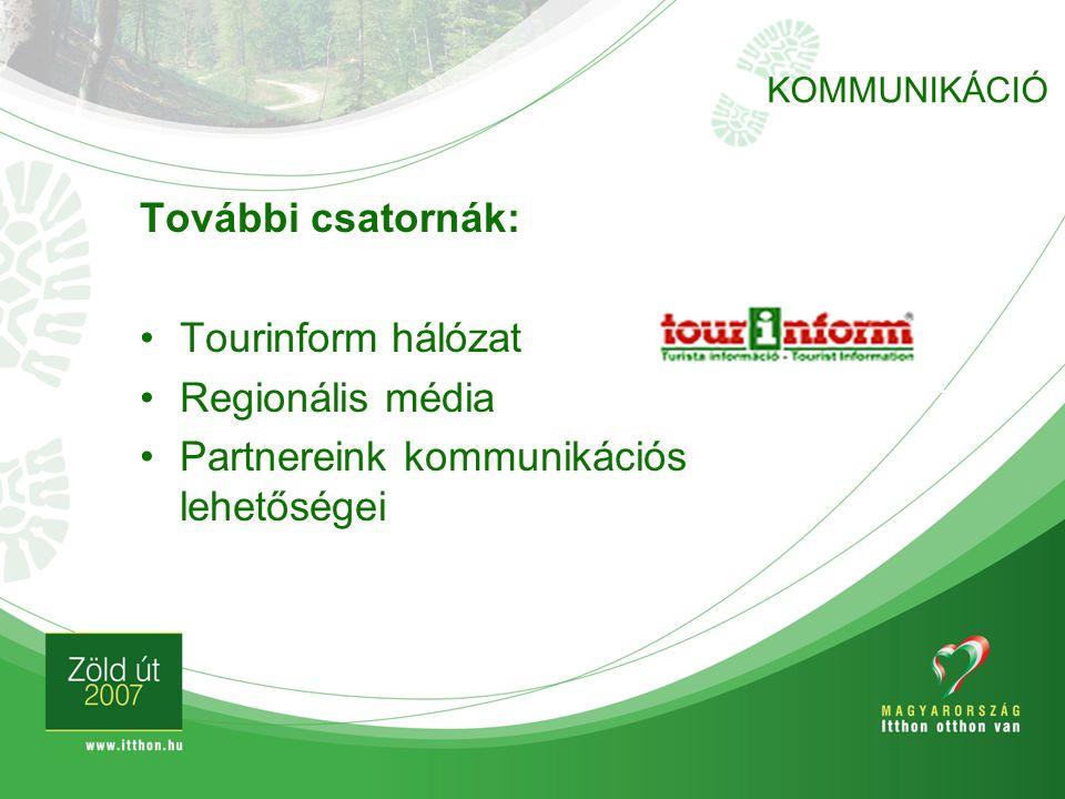 További csatornák: Tourinform hálózat Regionális média Partnereink kommunikációs lehetőségei KOMMUNIKÁCIÓ