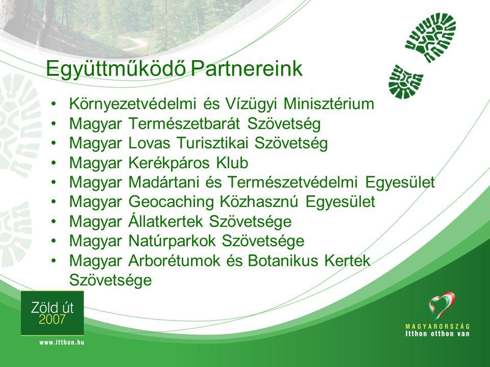 Együttműködő Partnereink Környezetvédelmi és Vízügyi Minisztérium Magyar Természetbarát Szövetség Magyar Lovas Turisztikai Szövetség Magyar Kerékpáros