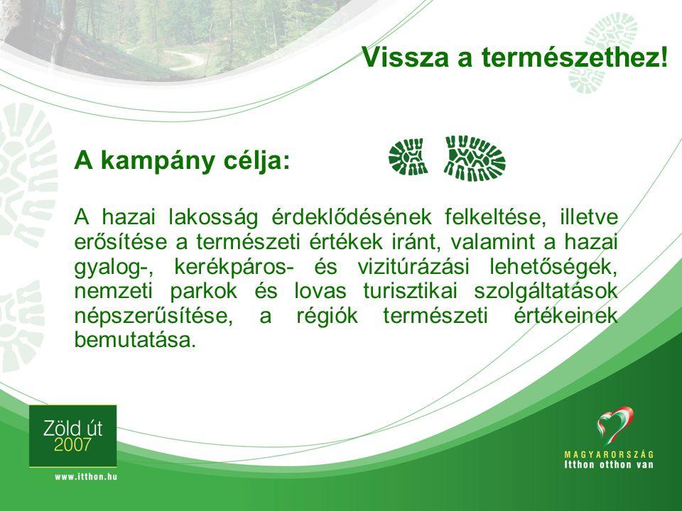 A kampány célja: A hazai lakosság érdeklődésének felkeltése, illetve erősítése a természeti értékek iránt, valamint a hazai gyalog-, kerékpáros- és vi