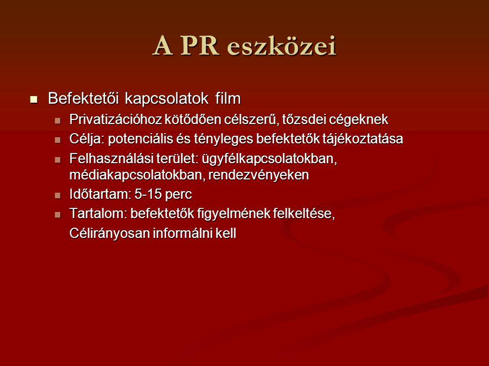 A PR eszközei Befektetői kapcsolatok film Befektetői kapcsolatok film Privatizációhoz kötődően célszerű, tőzsdei cégeknek Privatizációhoz kötődően cél