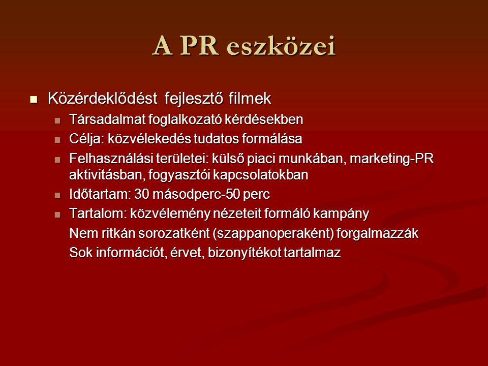 A PR eszközei Közérdeklődést fejlesztő filmek Közérdeklődést fejlesztő filmek Társadalmat foglalkozató kérdésekben Társadalmat foglalkozató kérdésekbe
