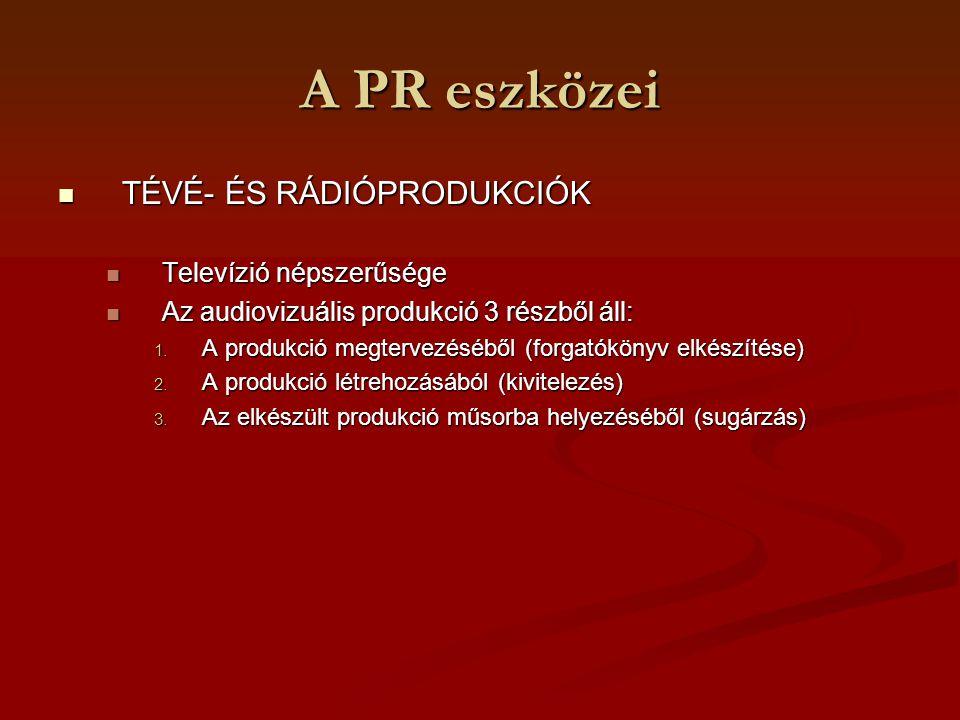 A PR eszközei TÉVÉ- ÉS RÁDIÓPRODUKCIÓK TÉVÉ- ÉS RÁDIÓPRODUKCIÓK Televízió népszerűsége Televízió népszerűsége Az audiovizuális produkció 3 részből áll