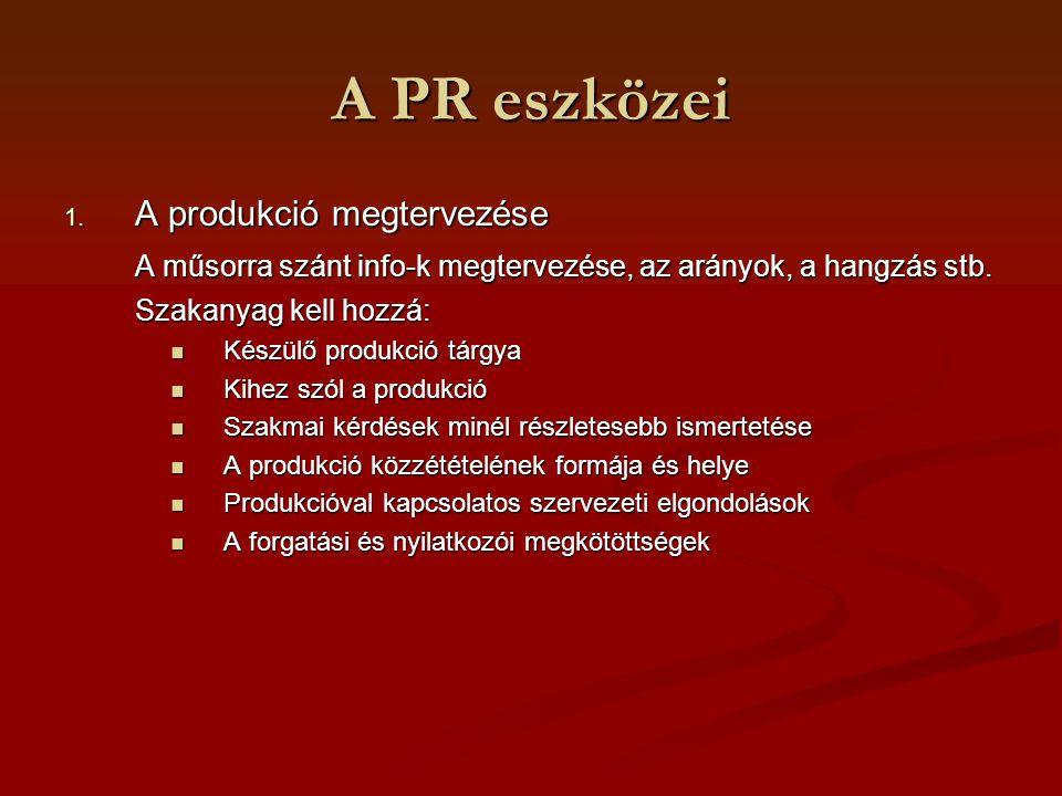 A PR eszközei 1. A produkció megtervezése A műsorra szánt info-k megtervezése, az arányok, a hangzás stb. Szakanyag kell hozzá: Készülő produkció tárg