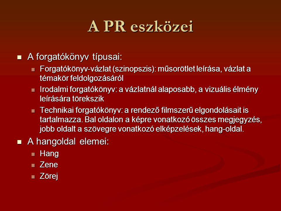 A PR eszközei A forgatókönyv típusai: A forgatókönyv típusai: Forgatókönyv-vázlat (szinopszis): műsorötlet leírása, vázlat a témakör feldolgozásáról F