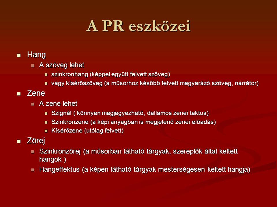 A PR eszközei Hang Hang A szöveg lehet A szöveg lehet szinkronhang (képpel együtt felvett szöveg) szinkronhang (képpel együtt felvett szöveg) vagy kís