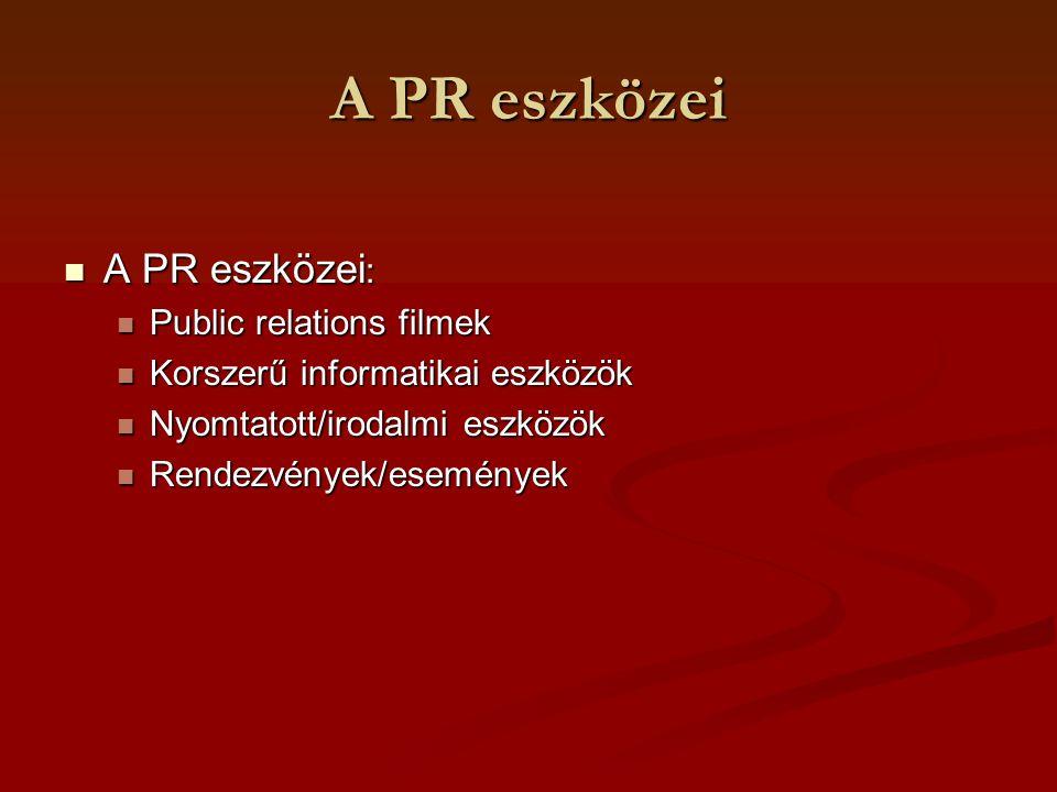 A PR eszközei PR filmek A leghatékonyabb informálási mód az audiovizuális formálás A leghatékonyabb informálási mód az audiovizuális formálás A PR filmekhez kapcsolódó gyakorlati feladatok: A PR filmekhez kapcsolódó gyakorlati feladatok: Archívum- nyilvántartás- dokumentáció Archívum- nyilvántartás- dokumentáció Kópiakészítés Kópiakészítés A bemutatás technikai feltételeinek biztosítása A bemutatás technikai feltételeinek biztosítása terjesztés terjesztés