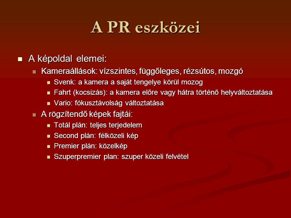 A PR eszközei A képoldal elemei: A képoldal elemei: Kameraállások: vízszintes, függőleges, rézsútos, mozgó Kameraállások: vízszintes, függőleges, rézs