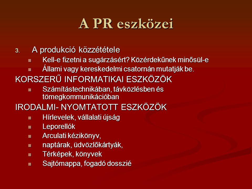A PR eszközei 3. A produkció közzététele Kell-e fizetni a sugárzásért? Közérdekűnek minősül-e Kell-e fizetni a sugárzásért? Közérdekűnek minősül-e Áll