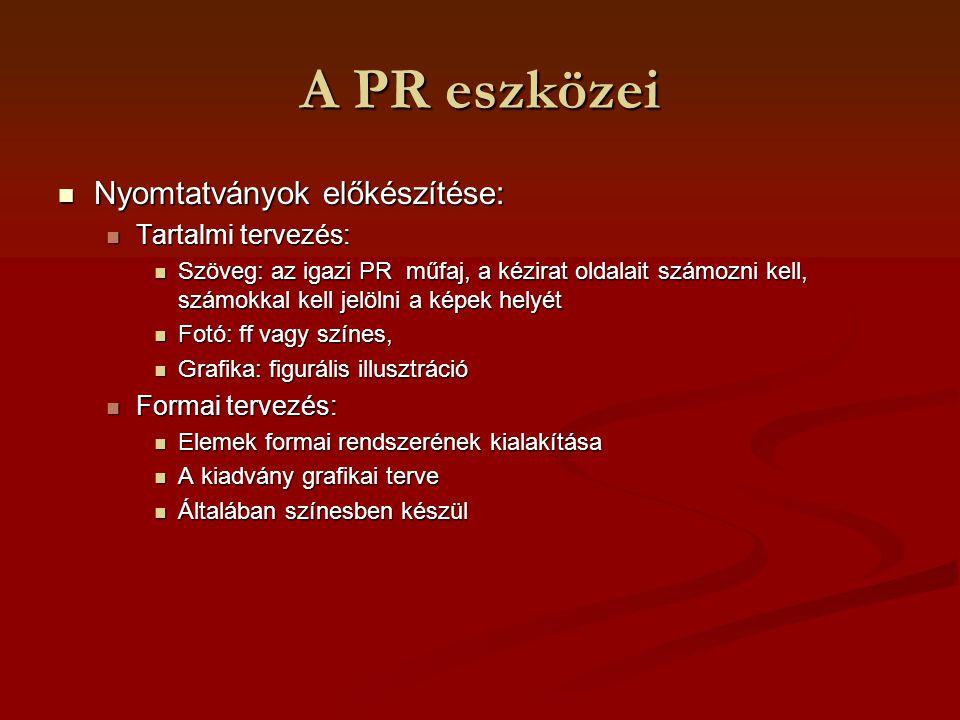 A PR eszközei Nyomtatványok előkészítése: Nyomtatványok előkészítése: Tartalmi tervezés: Tartalmi tervezés: Szöveg: az igazi PR műfaj, a kézirat oldal