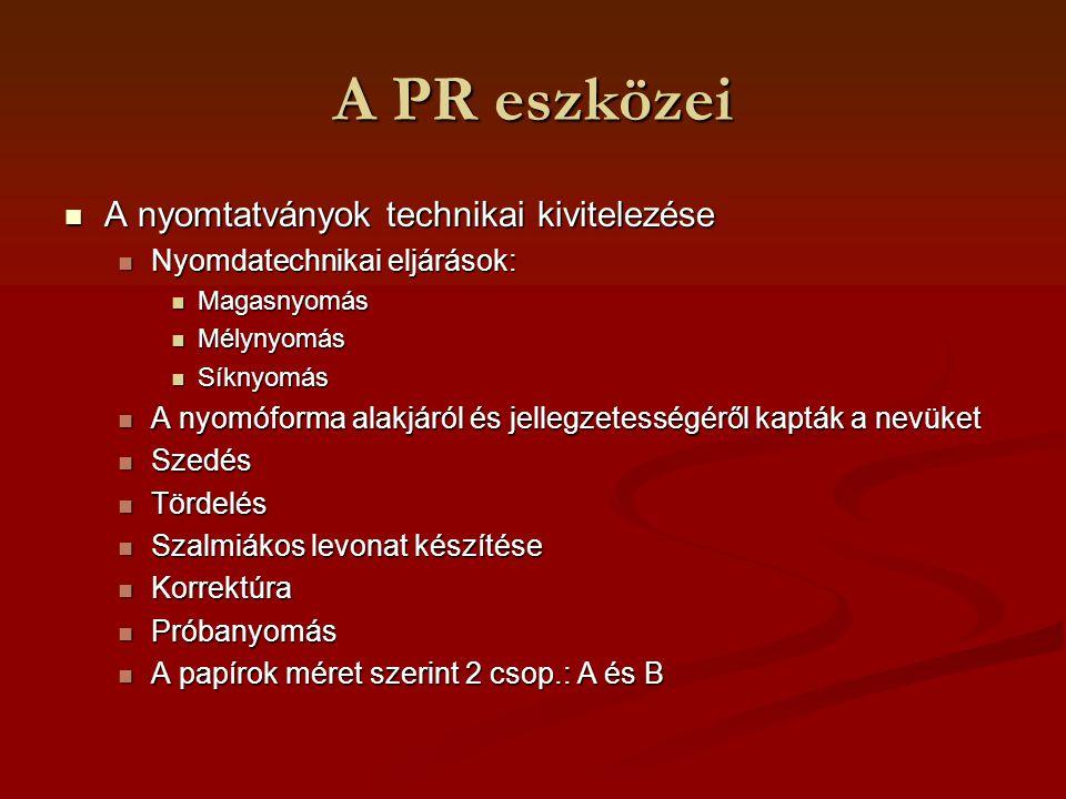 A PR eszközei A nyomtatványok technikai kivitelezése A nyomtatványok technikai kivitelezése Nyomdatechnikai eljárások: Nyomdatechnikai eljárások: Maga