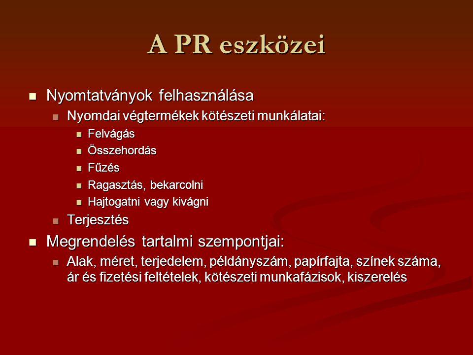 A PR eszközei Nyomtatványok felhasználása Nyomtatványok felhasználása Nyomdai végtermékek kötészeti munkálatai: Nyomdai végtermékek kötészeti munkálat