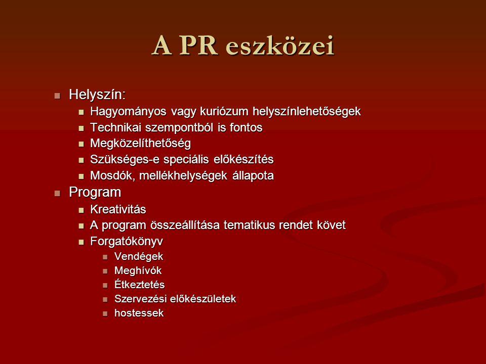 A PR eszközei Helyszín: Helyszín: Hagyományos vagy kuriózum helyszínlehetőségek Hagyományos vagy kuriózum helyszínlehetőségek Technikai szempontból is