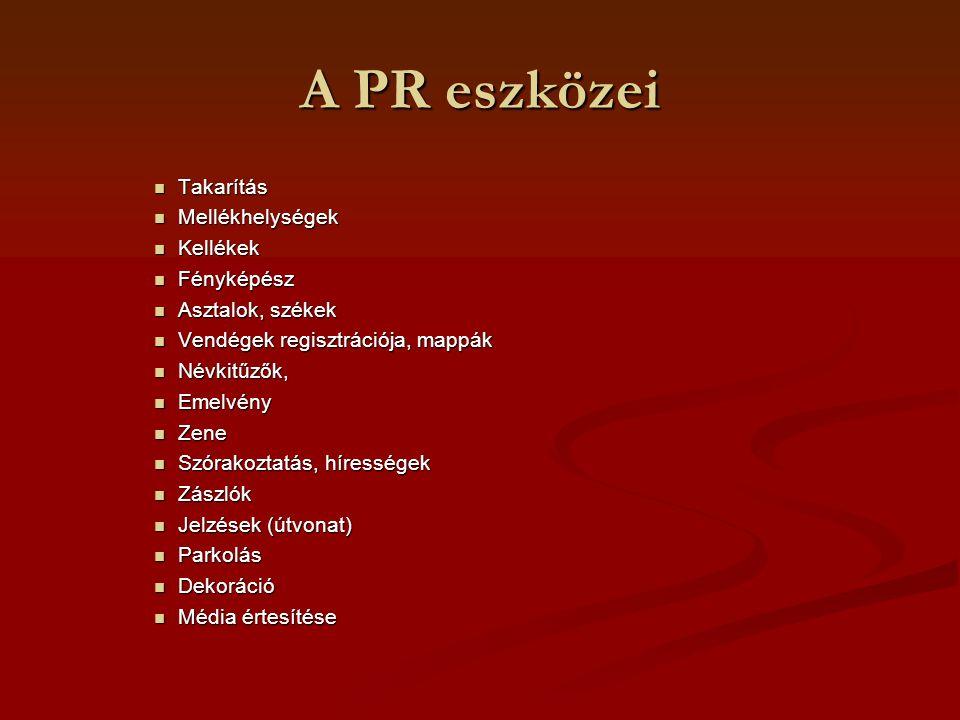 A PR eszközei Takarítás Takarítás Mellékhelységek Mellékhelységek Kellékek Kellékek Fényképész Fényképész Asztalok, székek Asztalok, székek Vendégek r