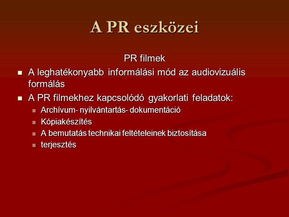 A PR eszközei PR spot PR spot Rövid mint a reklámfilm Rövid mint a reklámfilm Célja: figyelem felkeltése Célja: figyelem felkeltése Felhasználási terület: külső piaci munka, szakmai kampány felvezetéseként, marketing-PR tevékenység Felhasználási terület: külső piaci munka, szakmai kampány felvezetéseként, marketing-PR tevékenység Időtartam: 20 másodperc-1 perc Időtartam: 20 másodperc-1 perc Tartalom: az arculat valamilyen változásával kapcsolatos film Tartalom: az arculat valamilyen változásával kapcsolatos film