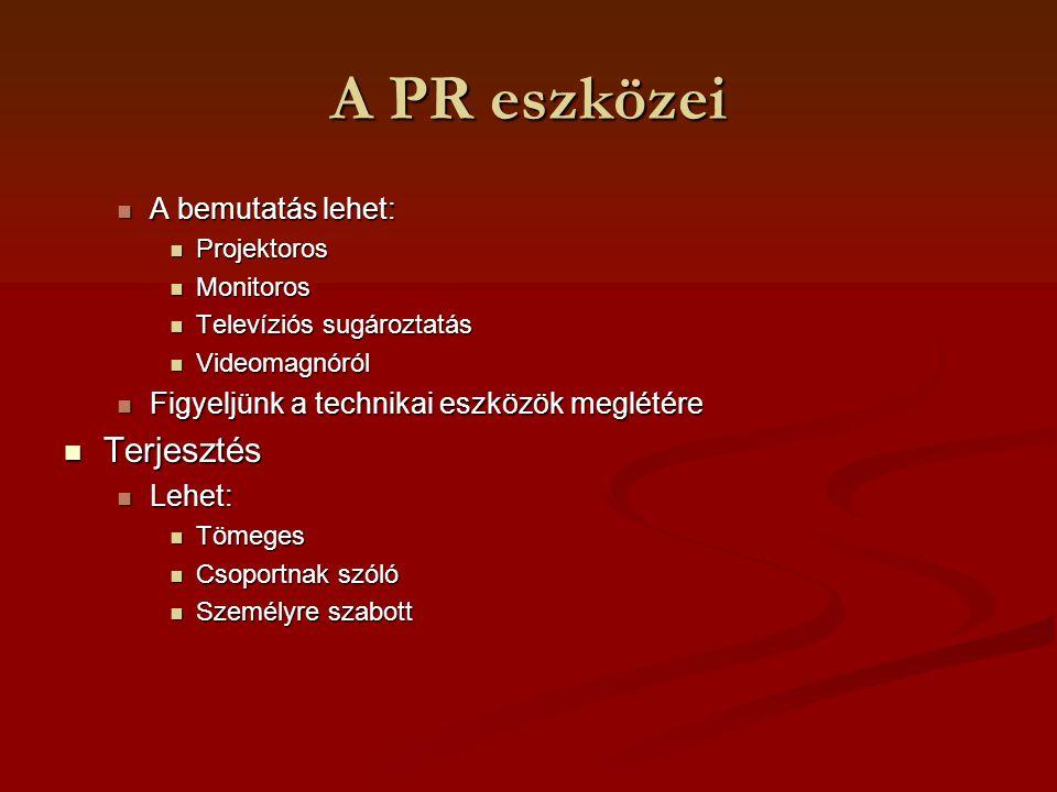 A PR eszközei A bemutatás lehet: A bemutatás lehet: Projektoros Projektoros Monitoros Monitoros Televíziós sugároztatás Televíziós sugároztatás Videom