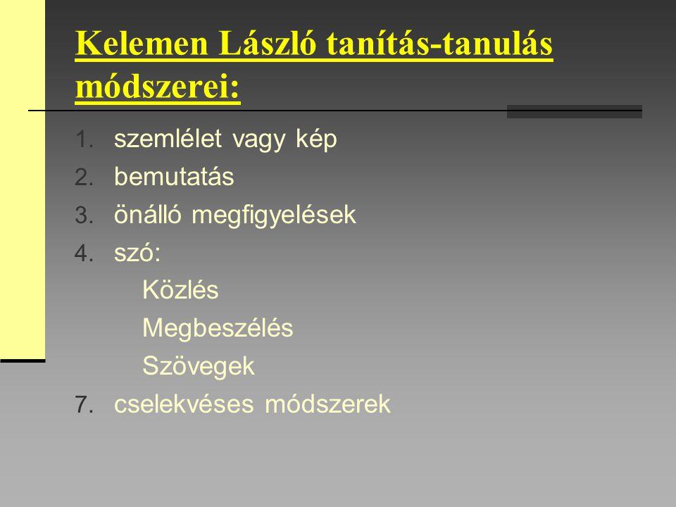 Kelemen László tanítás-tanulás módszerei: 1. szemlélet vagy kép 2. bemutatás 3. önálló megfigyelések 4. szó: Közlés Megbeszélés Szövegek 7. cselekvése