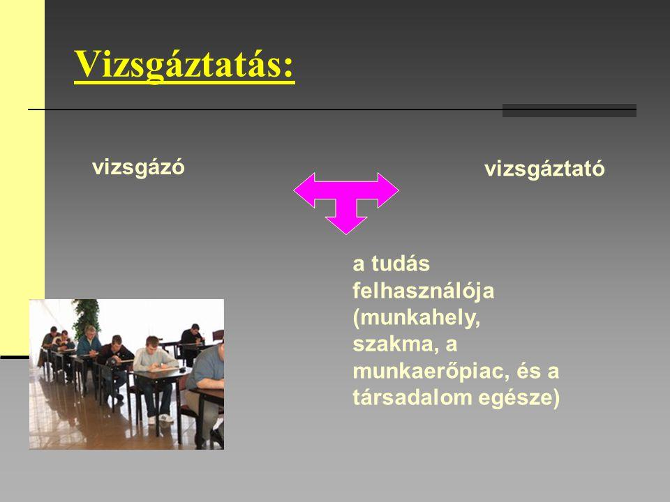 Vizsgáztatás: vizsgázó vizsgáztató a tudás felhasználója (munkahely, szakma, a munkaerőpiac, és a társadalom egésze)