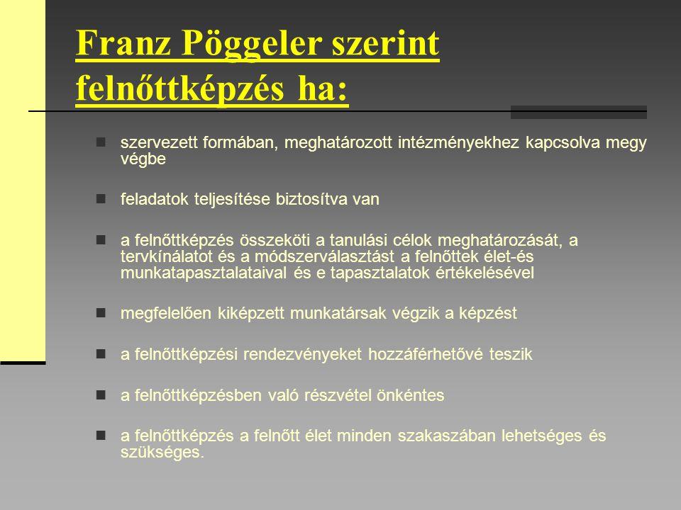 Franz Pöggeler szerint felnőttképzés ha: szervezett formában, meghatározott intézményekhez kapcsolva megy végbe feladatok teljesítése biztosítva van a