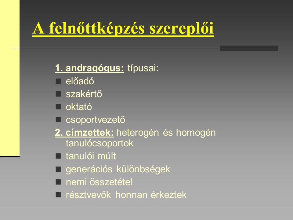 A felnőttképzés szereplői 1. andragógus: típusai: előadó szakértő oktató csoportvezető 2. címzettek: heterogén és homogén tanulócsoportok tanulói múlt