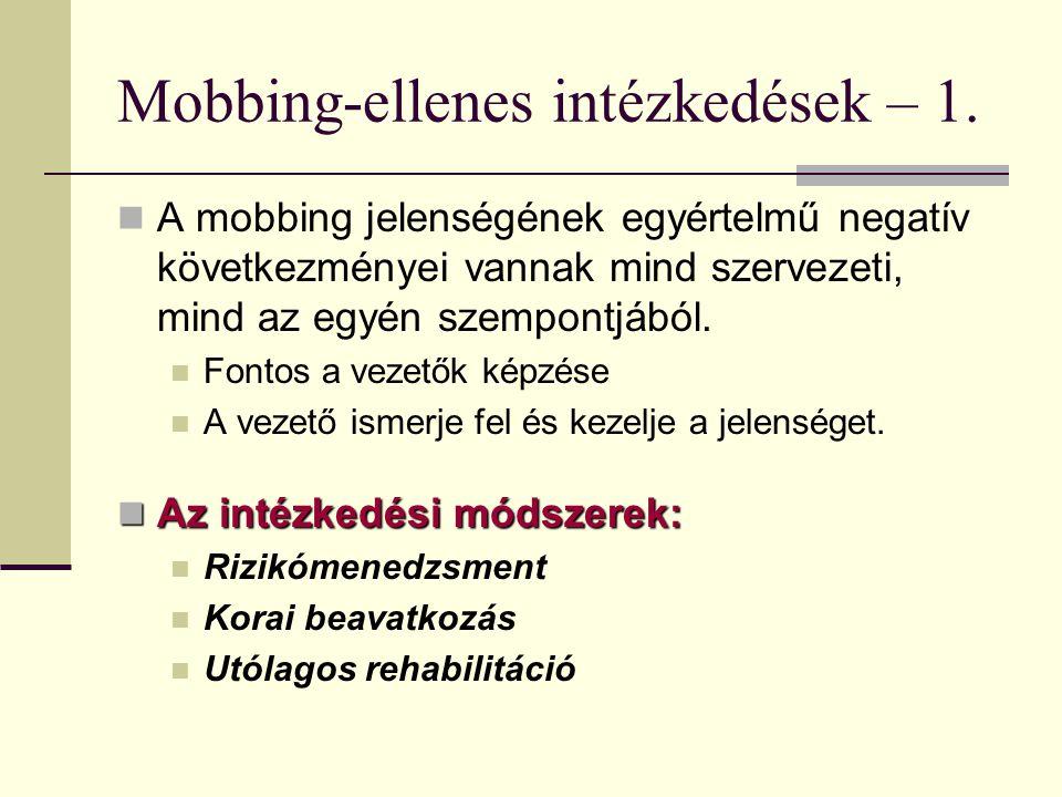 Mobbing-ellenes intézkedések – 1. A mobbing jelenségének egyértelmű negatív következményei vannak mind szervezeti, mind az egyén szempontjából. Fontos