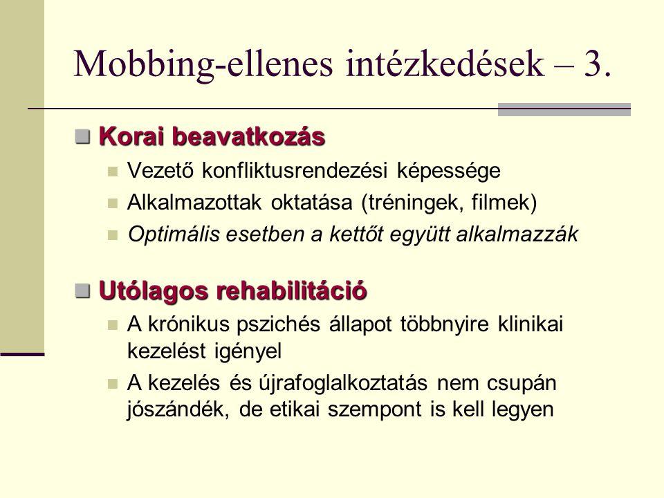 Mobbing-ellenes intézkedések – 3. Korai beavatkozás Korai beavatkozás Vezető konfliktusrendezési képessége Alkalmazottak oktatása (tréningek, filmek)