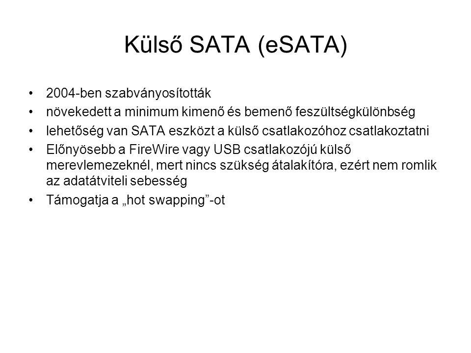 Külső SATA (eSATA) 2004-ben szabványosították növekedett a minimum kimenő és bemenő feszültségkülönbség lehetőség van SATA eszközt a külső csatlakozóh