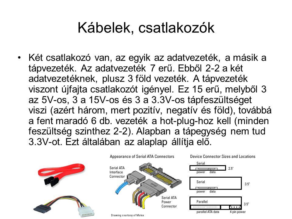 Kábelek, csatlakozók Két csatlakozó van, az egyik az adatvezeték, a másik a tápvezeték. Az adatvezeték 7 erű. Ebből 2-2 a két adatvezetéknek, plusz 3