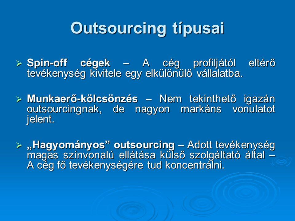 Outsourcing előnyei  Költségcsökkentés  A hatékonyság növelése  A professzionalitás kiterjesztése a lehető legtöbb tevékenységre  A képzési költségek csökkentése  A járulékos tevékenységek csökkenése  Stratégiai gondolkodás, világos célok