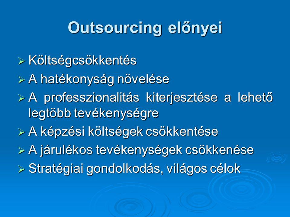 Outsourcing előnyei  Megbízhatóság  A szolgáltatóval kiépített jó kapcsolat  Teret nyer a hozzáadott érték  Gyors változások nyomon követése  Időszakos igények kielégítése  Ügyfélelégedettség