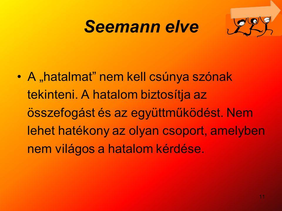 """11 Seemann elve A """"hatalmat"""" nem kell csúnya szónak tekinteni. A hatalom biztosítja az összefogást és az együttműködést. Nem lehet hatékony az olyan c"""