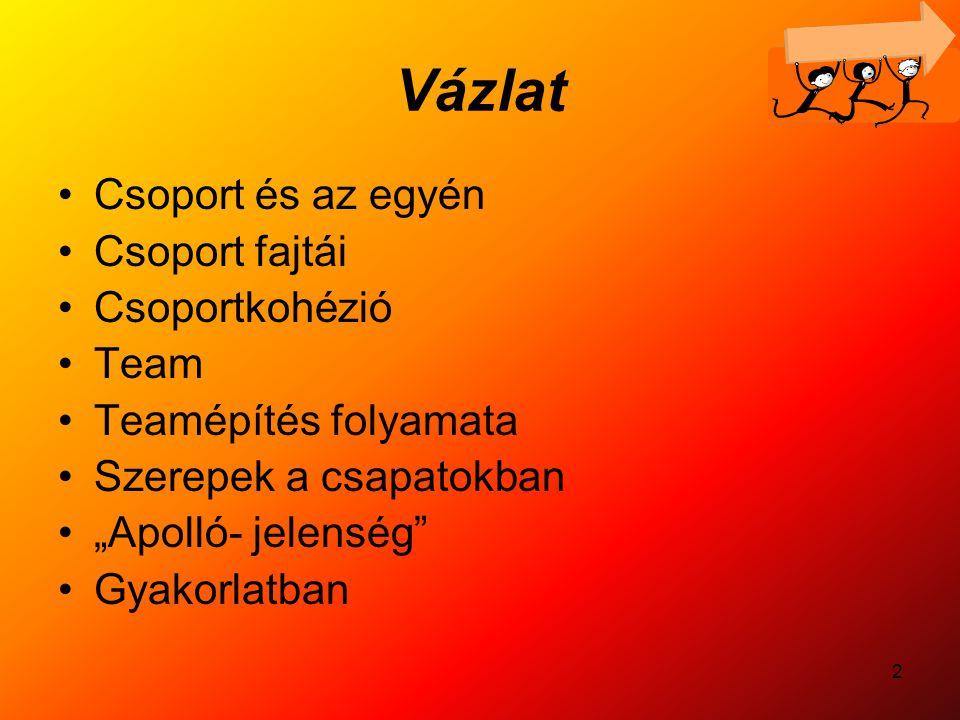 """2 Vázlat Csoport és az egyén Csoport fajtái Csoportkohézió Team Teamépítés folyamata Szerepek a csapatokban """"Apolló- jelenség"""" Gyakorlatban"""