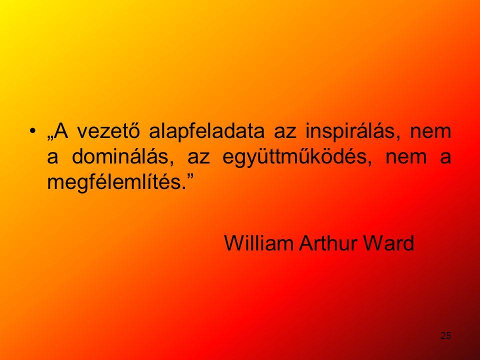 """25 """"A vezető alapfeladata az inspirálás, nem a dominálás, az együttműködés, nem a megfélemlítés."""" William Arthur Ward"""