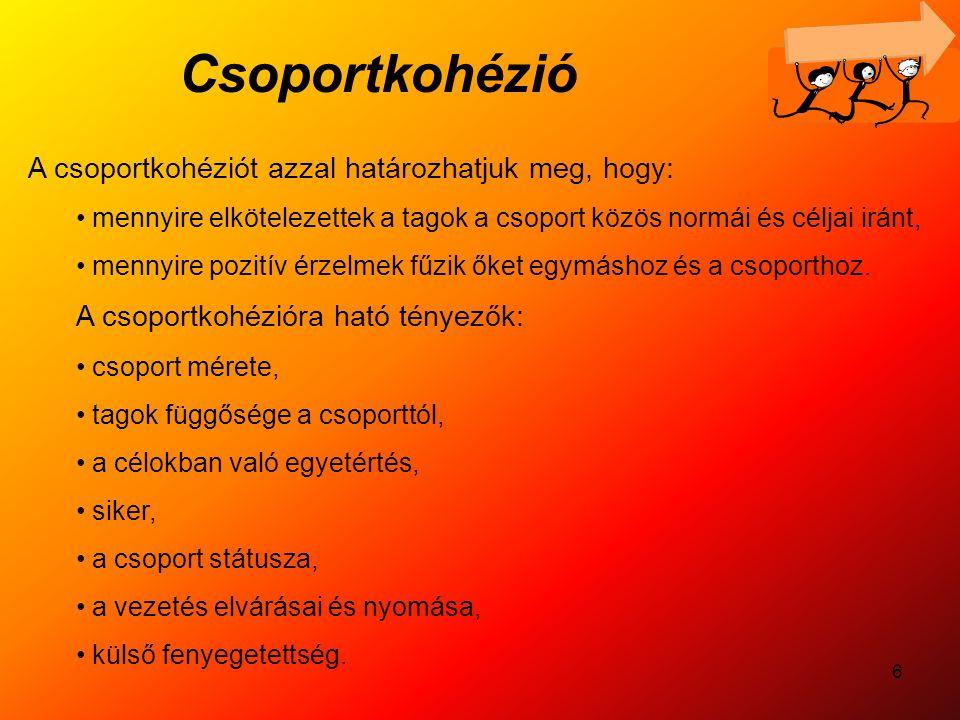 6 Csoportkohézió A csoportkohéziót azzal határozhatjuk meg, hogy: mennyire elkötelezettek a tagok a csoport közös normái és céljai iránt, mennyire poz