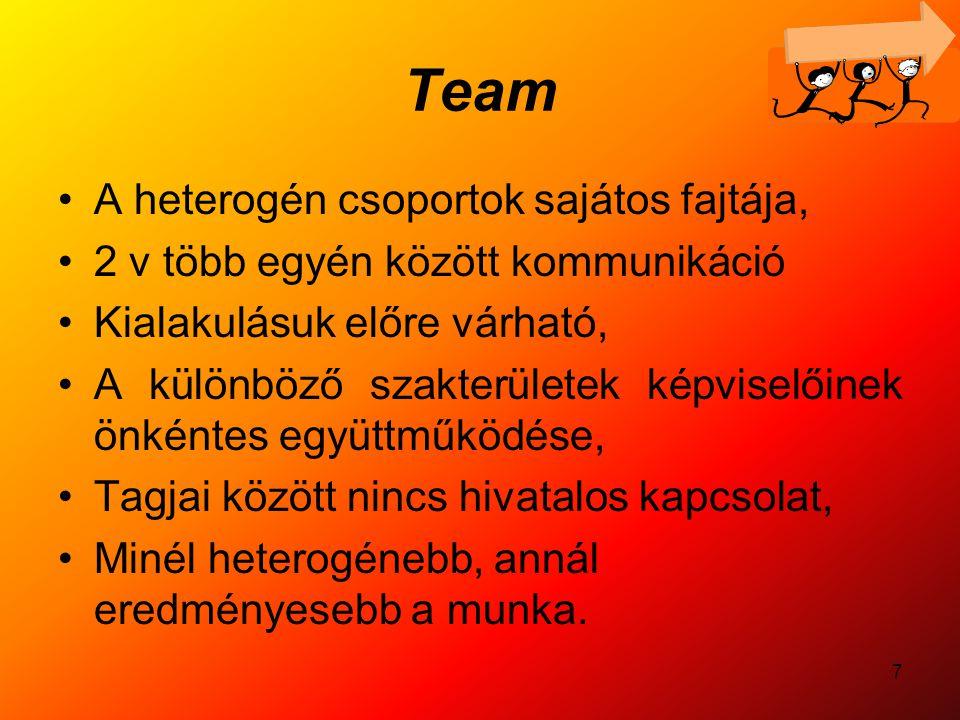 7 Team A heterogén csoportok sajátos fajtája, 2 v több egyén között kommunikáció Kialakulásuk előre várható, A különböző szakterületek képviselőinek ö