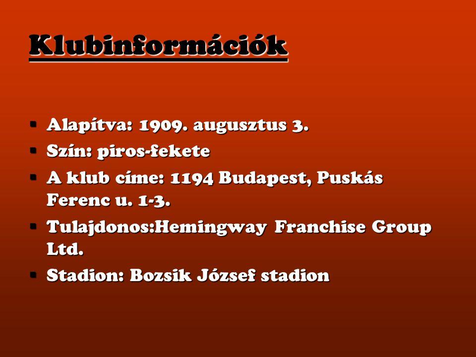 Klubinformációk  Alapítva: 1909. augusztus 3.  Szín: piros-fekete  A klub címe: 1194 Budapest, Puskás Ferenc u. 1-3.  Tulajdonos:Hemingway Franchi