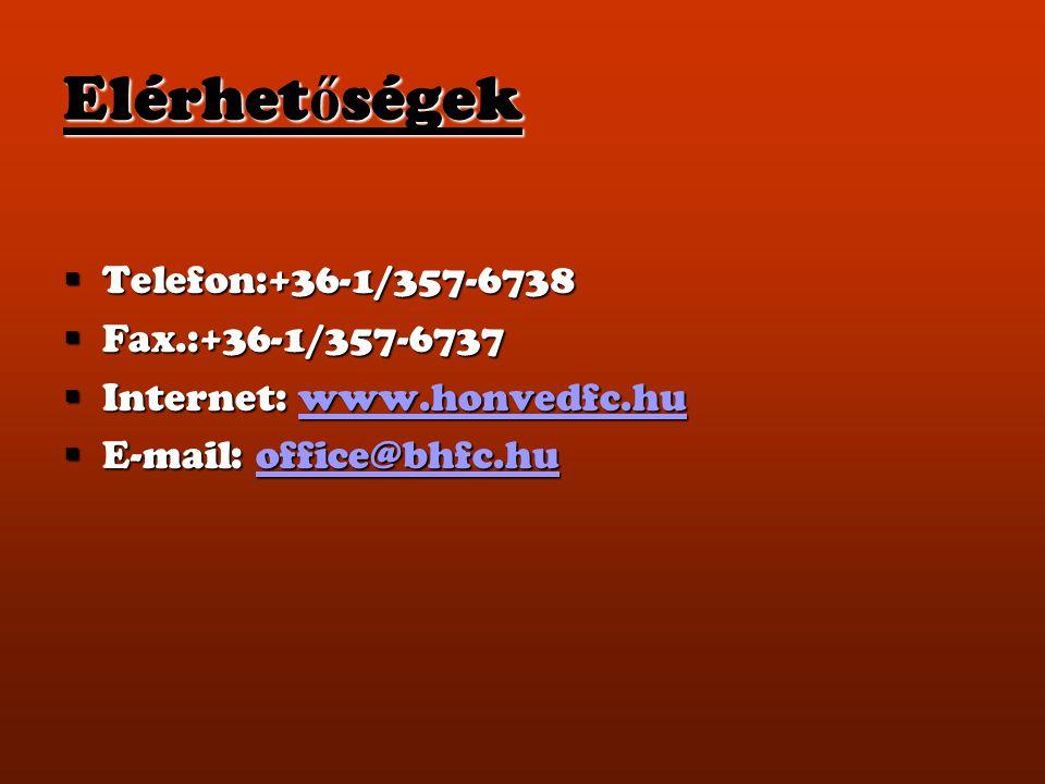 Elérhet ő ségek  Telefon:+36-1/357-6738  Fax.:+36-1/357-6737  Internet: www.honvedfc.hu www.honvedfc.hu  E-mail: office@bhfc.hu office@bhfc.hu