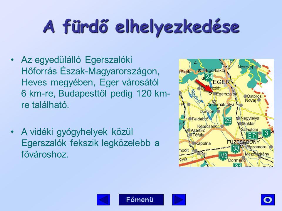 A fürdő elhelyezkedése Az egyedülálló Egerszalóki Hőforrás Észak-Magyarországon, Heves megyében, Eger városától 6 km-re, Budapesttől pedig 120 km- re