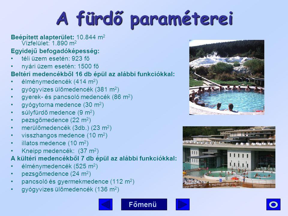 A fürdő paraméterei Beépített alapterület: 10.844 m 2 Vízfelület: 1.890 m 2 Egyidejű befogadóképesség: téli üzem esetén: 923 fő nyári üzem esetén: 150