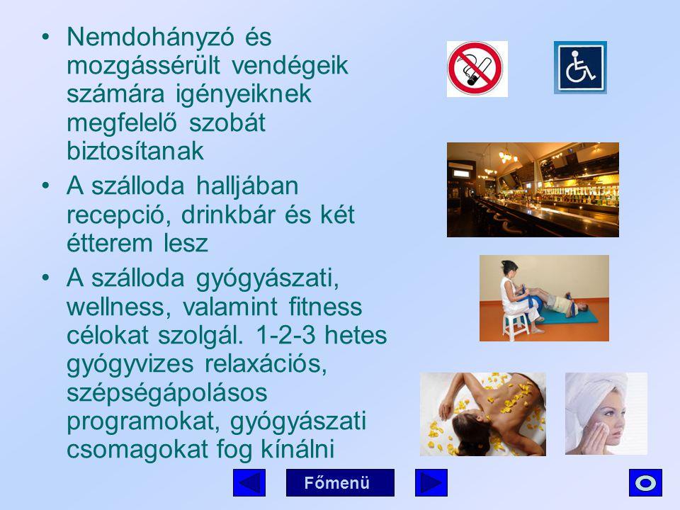 Nemdohányzó és mozgássérült vendégeik számára igényeiknek megfelelő szobát biztosítanak A szálloda halljában recepció, drinkbár és két étterem lesz A