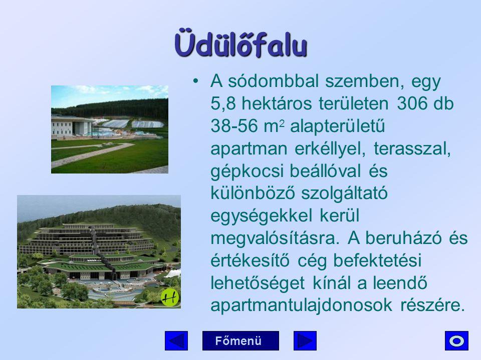 Üdülőfalu A sódombbal szemben, egy 5,8 hektáros területen 306 db 38-56 m 2 alapterületű apartman erkéllyel, terasszal, gépkocsi beállóval és különböző