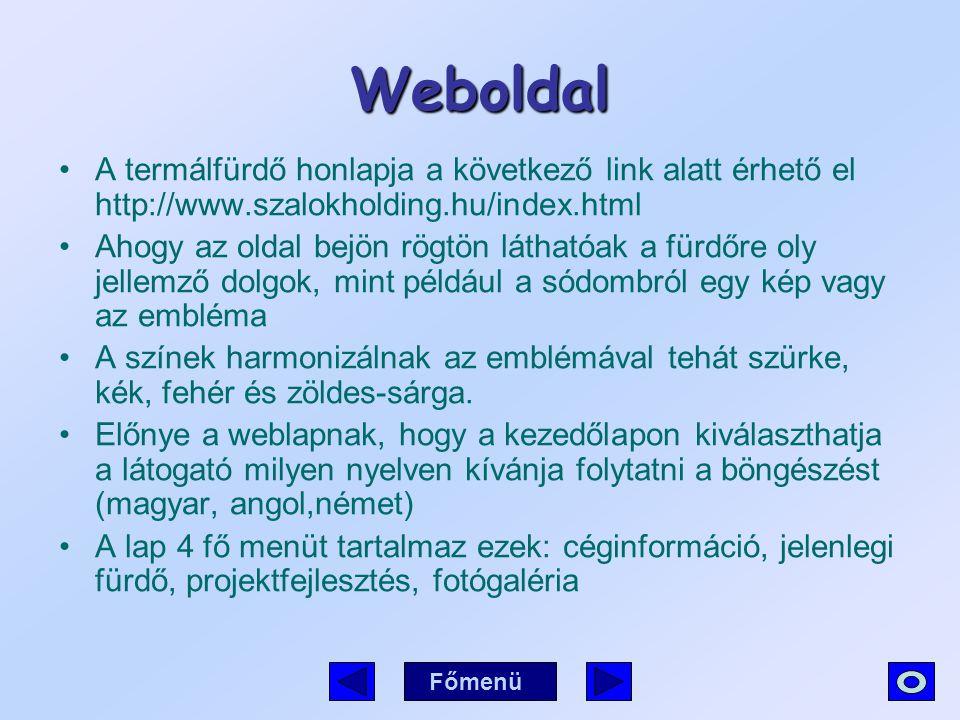 Weboldal A termálfürdő honlapja a következő link alatt érhető el http://www.szalokholding.hu/index.html Ahogy az oldal bejön rögtön láthatóak a fürdőr