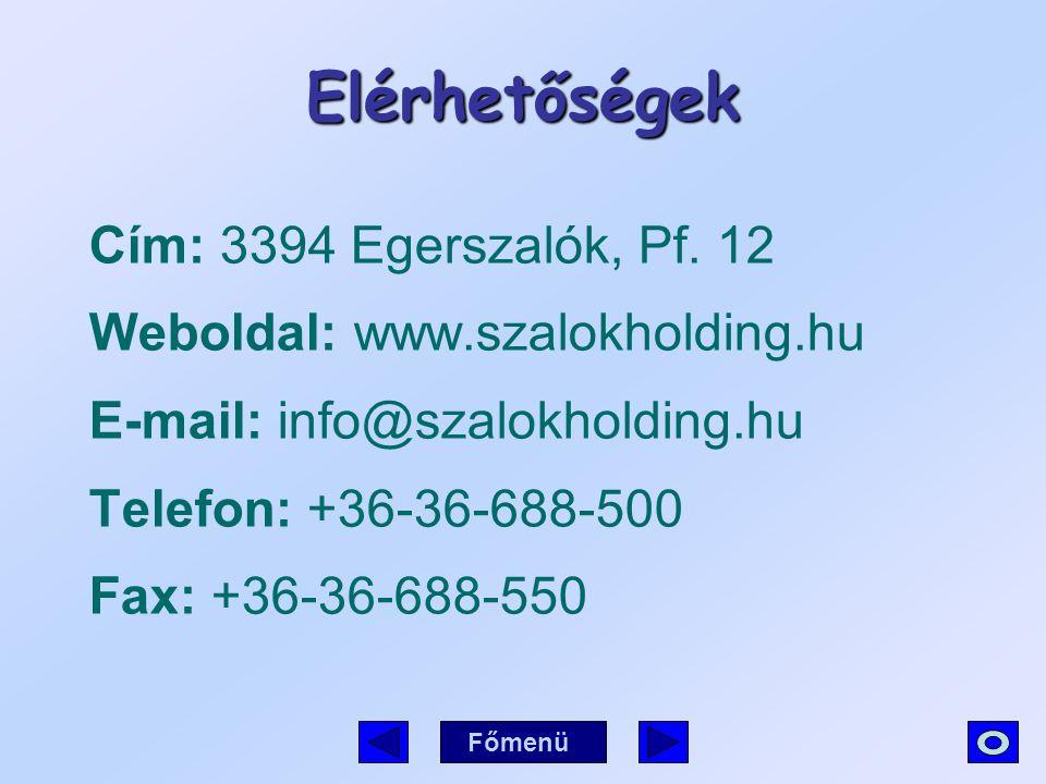 Elérhetőségek Cím: 3394 Egerszalók, Pf. 12 Weboldal: www.szalokholding.hu E-mail: info@szalokholding.hu Telefon: +36-36-688-500 Fax: +36-36-688-550 Fő