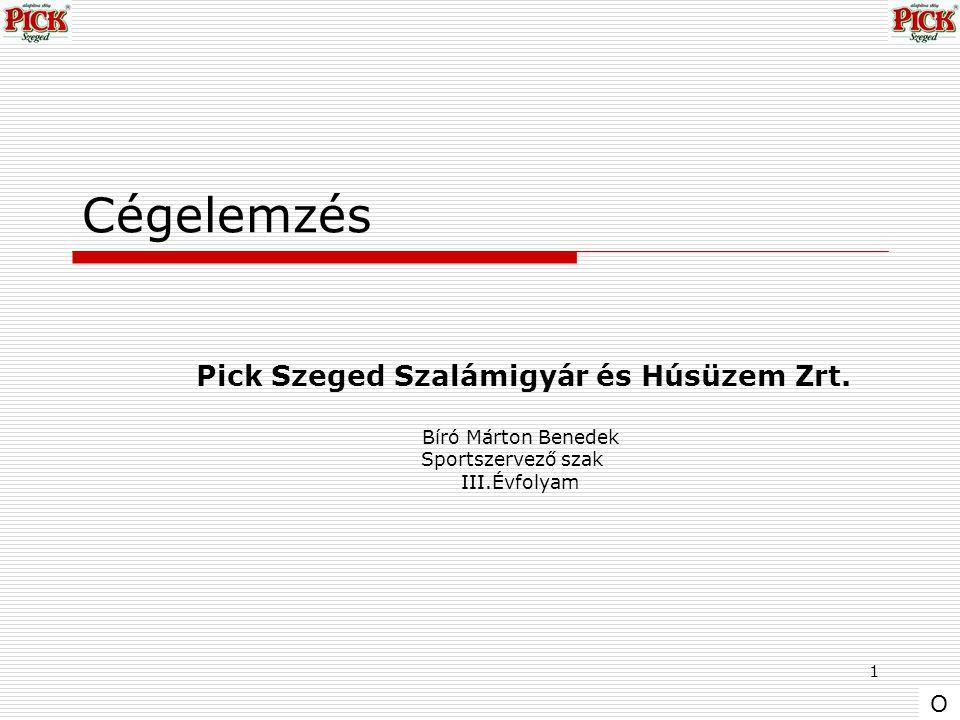 1 Cégelemzés Pick Szeged Szalámigyár és Húsüzem Zrt. Bíró Márton Benedek Sportszervező szak III.Évfolyam O